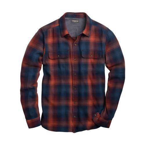 Toad&Co Men's Indigo Flannel Slim Long Sleeve Shirt Burntorange