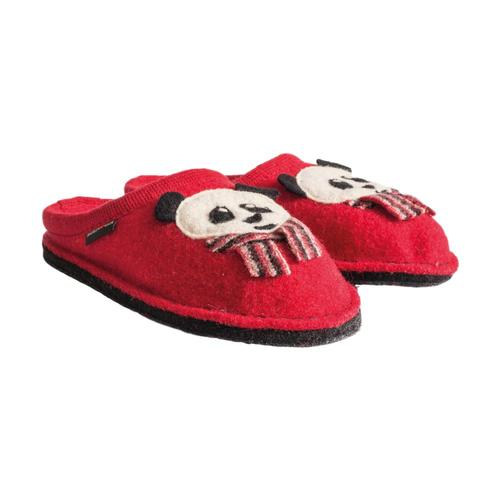 Haflinger Women's Panda Slippers Rubyred