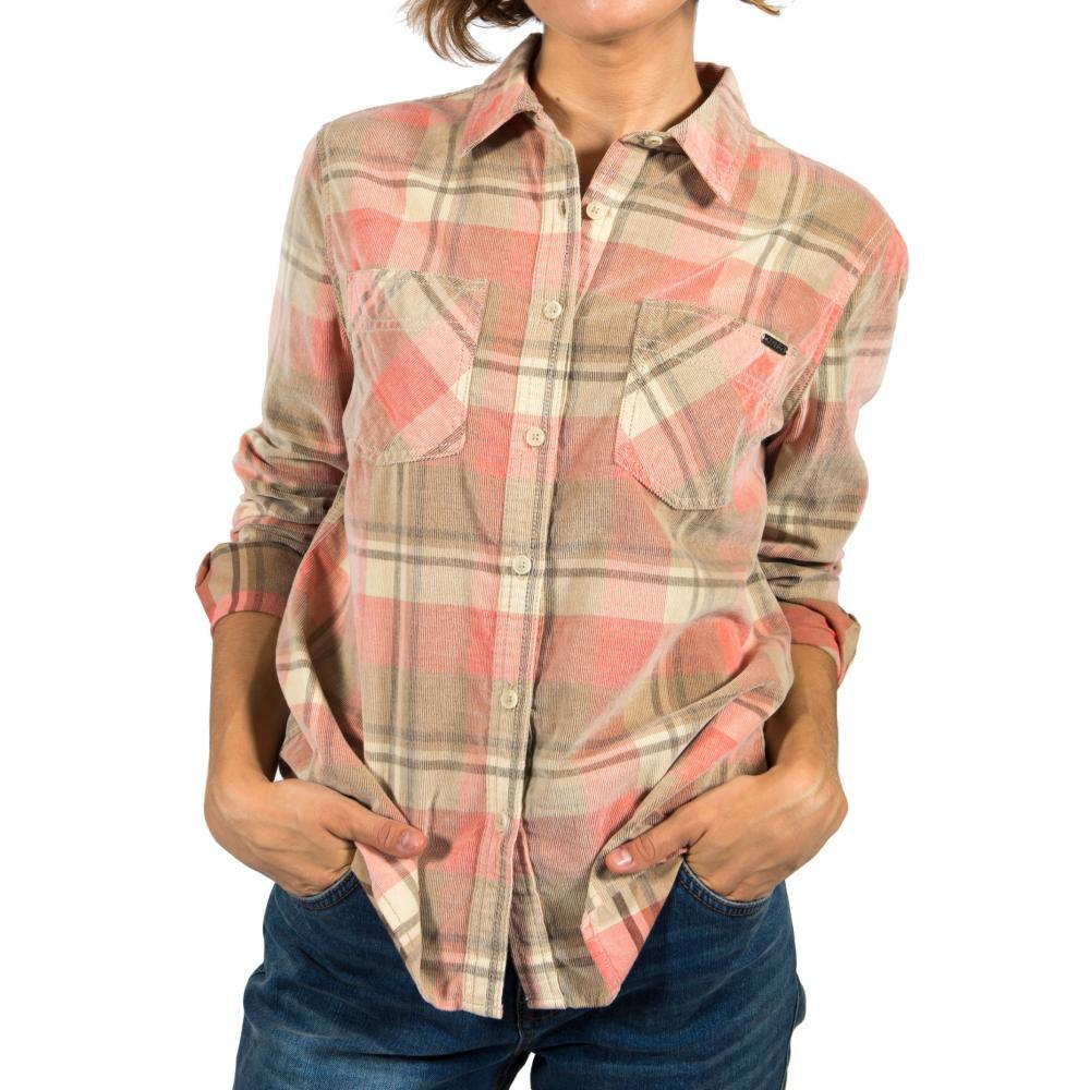 Gramicci Women's Knock On My Door Cord Plaid Shirt ICECORAL