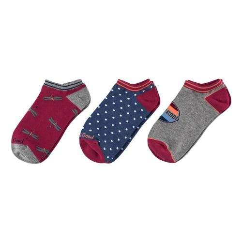 Life is Good Women's Dragonfly Low Cut Socks - 3-Pack Pinkblue