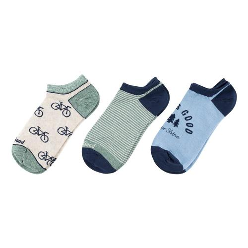 Life is Good Women's Bike & Tree Low Cut Socks - 3-Pack Bluegreen