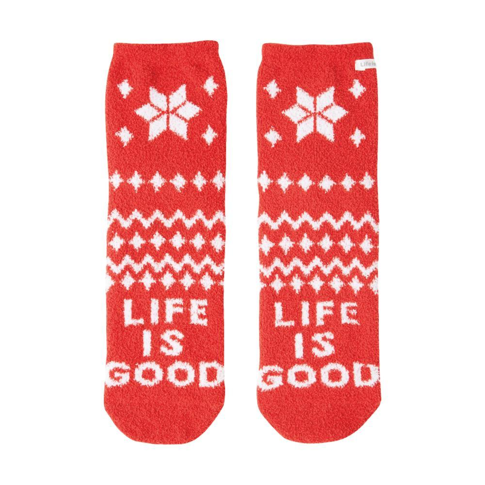 Life is Good Women's Snowflake Pattern Plush Snuggle Crew Socks AMERICANRED