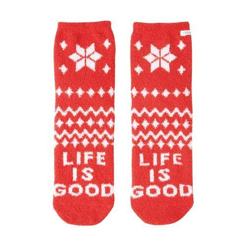 Life is Good Women's Snowflake Pattern Plush Snuggle Crew Socks Americanred