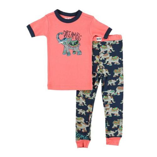 Lazy One Kids Dream Big Elephant PJ Set Coral