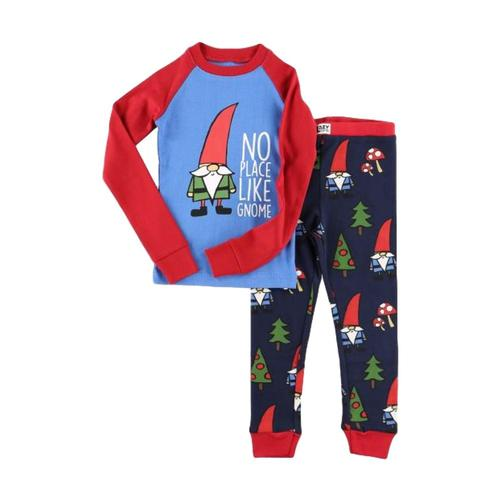 Lazy One Kids No Place Like Gnome PJ Set Red_blue