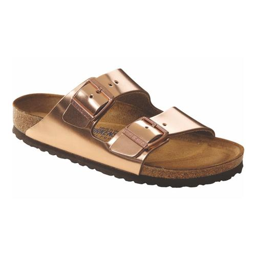 Birkenstock Women's Arizona Soft Footbed Leather Sandals Metcopper