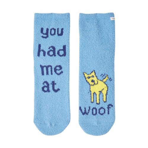 Life is Good Women's Woof Love Plush Snuggle Crew Socks Powderblue