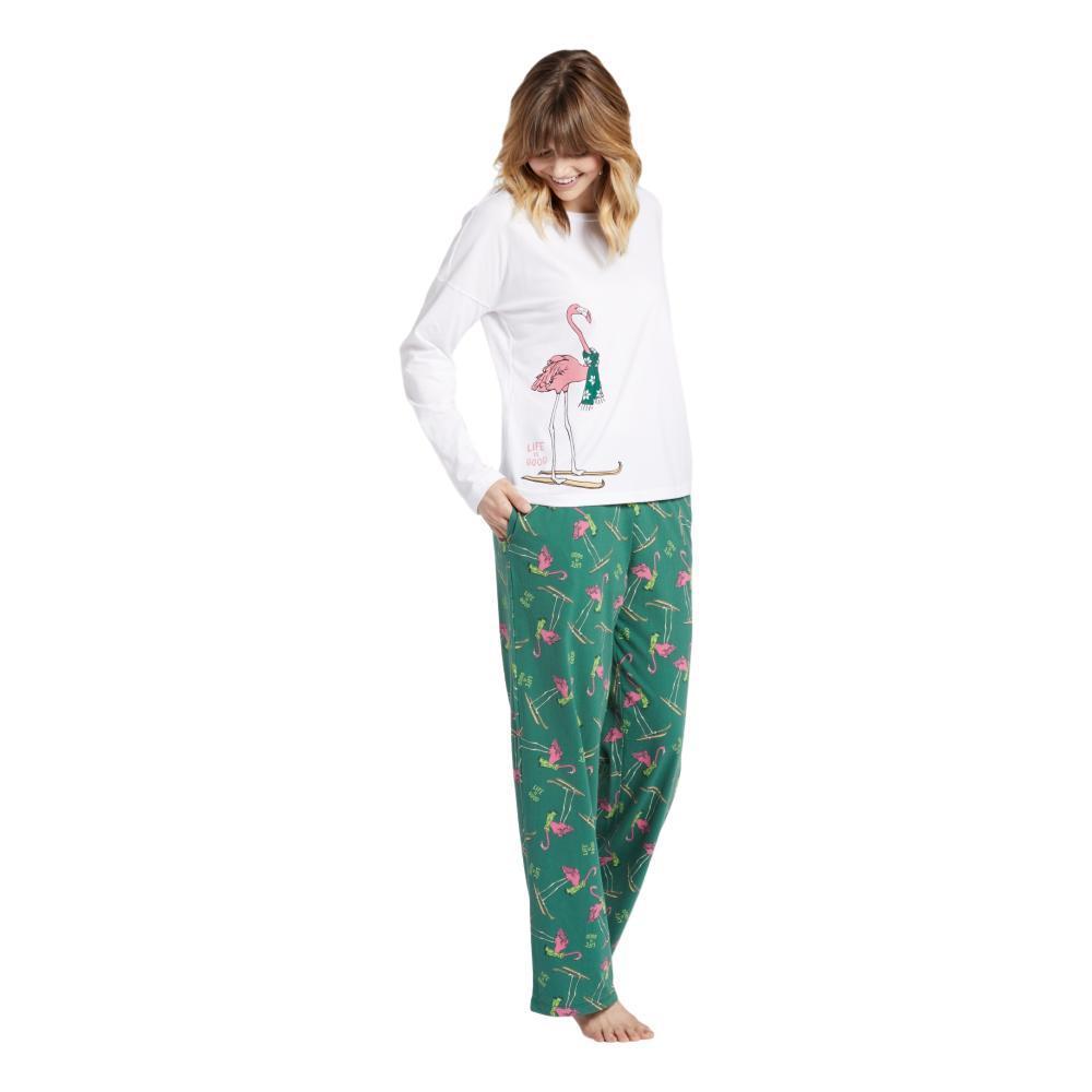 Life is Good Women's Festive Flamingo Snuggle Up Sleep Pants FORESTGREEN