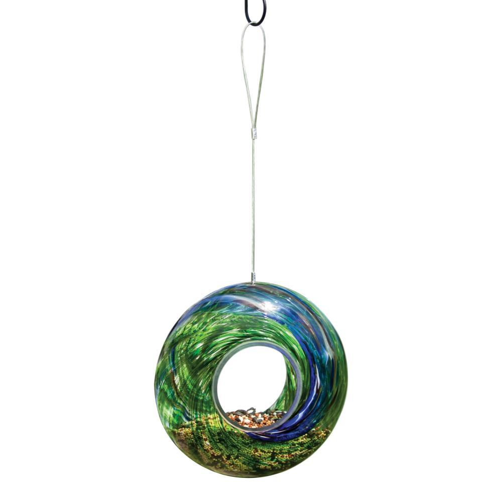 Evergreen Garden Glass Circle Feeder GREEN