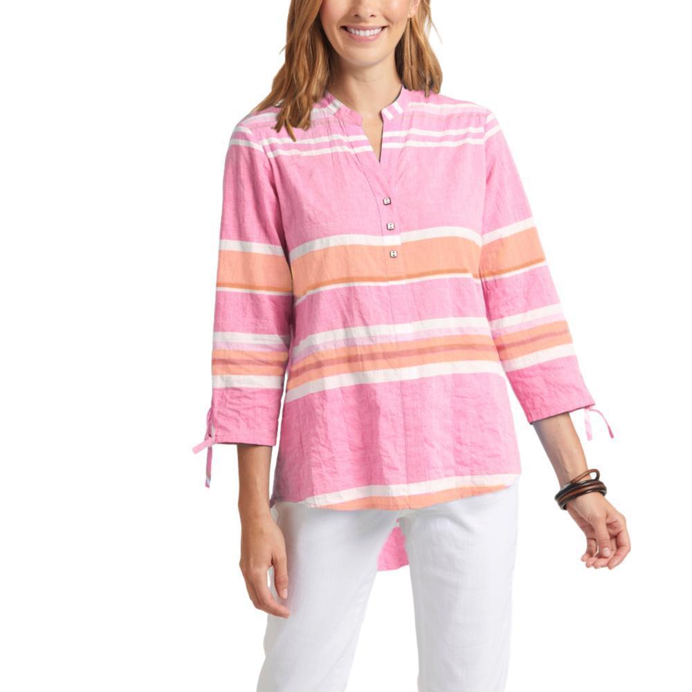 Habitat Clothing Women's Newport Stripe Split Collar Shirt CREAMSICLE