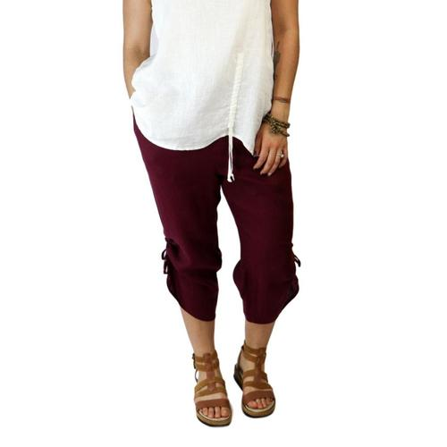 FLAX Women's Capri Pants Maroon