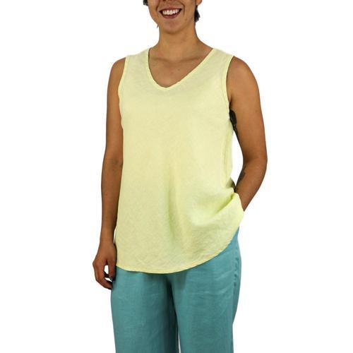 FLAX Women's Bias Vee Tank Top Lemongrass