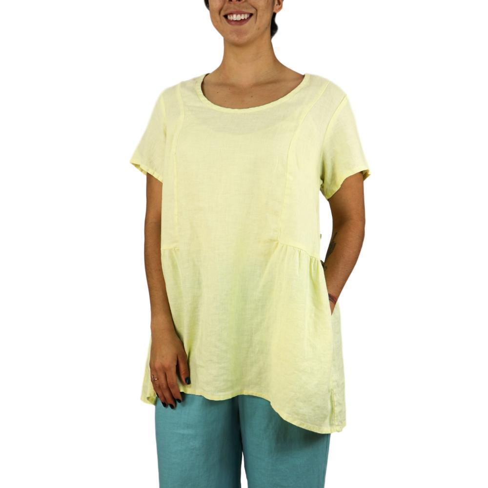 FLAX Women's Play In It Short Sleeve Shirt LEMONGRASS