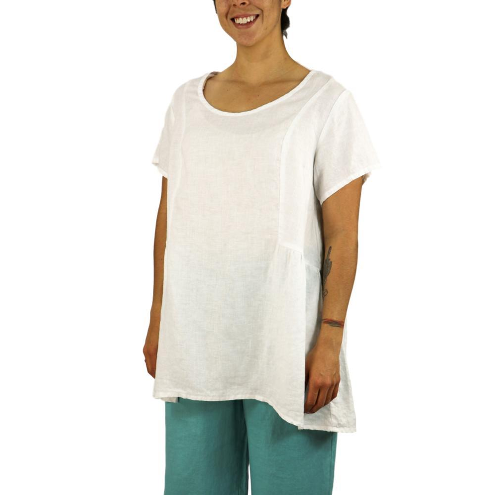FLAX Women's Play In It Short Sleeve Shirt WHITE