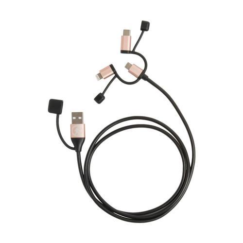 Outdoor Tech Calamari Ultra Lightning, USB C & Micro USB Cable Blk.Rs.Gld