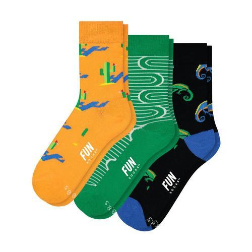 Fun Socks Boy's Desert Socks-3-Pack Orngrnblk