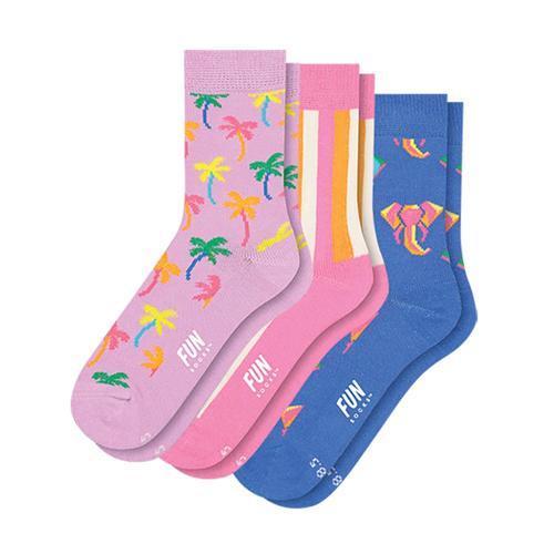 Fun Socks Girl's Palm Socks-3-Pack Pnkpnkblu