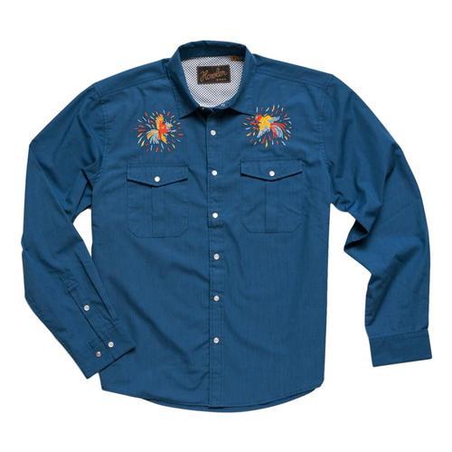 Howler Brothers Men's Gaucho Dos Gallos Snapshirt Cobalt
