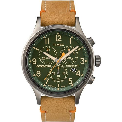 Timex Expedition Scout Chronograph 42mm Leather Strap Watch Leather