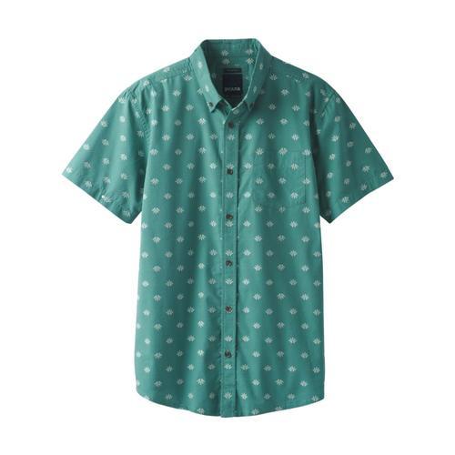 prAna Men's Broderick Short Sleeve Shirt - Slim Aloe