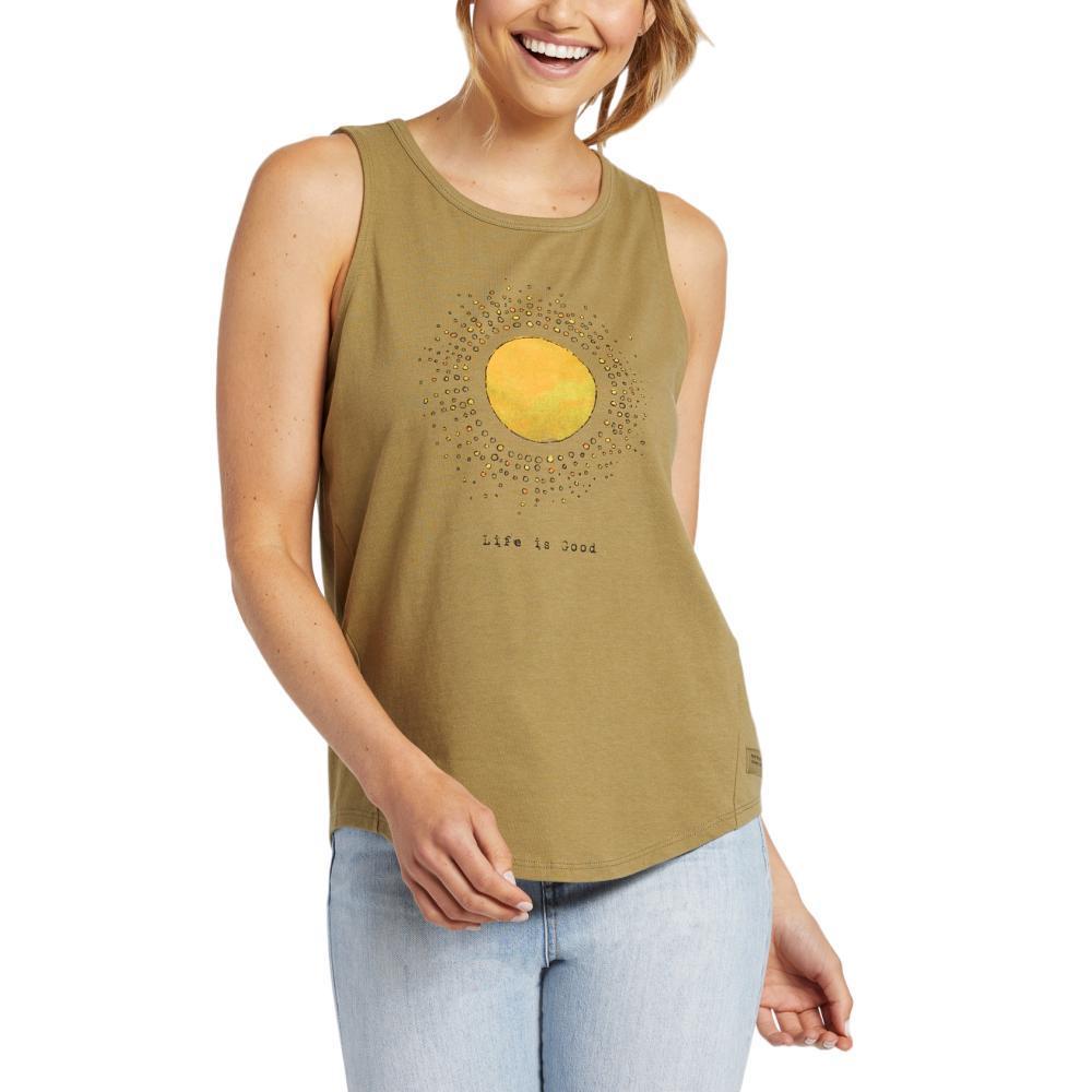 Life Is Good Women's Radiate Love Sun Engraved High-Low Crusher Tank FATIGUEGRN