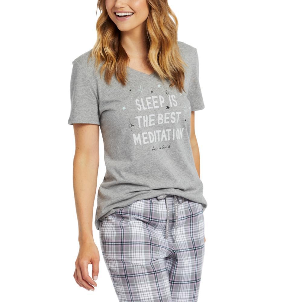 Life is Good Women's Meditation Snuggle Up Sleep Vee HTHRGRAY