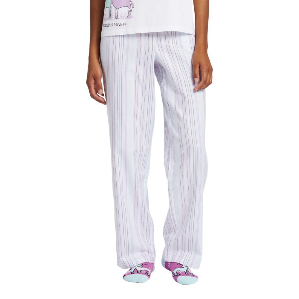 Life is Good Women's Grape Bermuda Stripe Classic Sleep Pants CLOUDWHITE