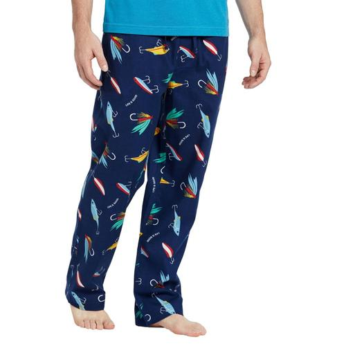 Life is Good Men's Fish Lure Classic Sleep Pants Drkblue