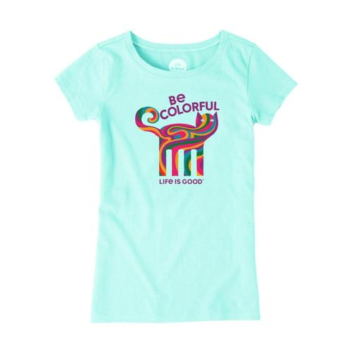 Life is Good Girls Be Colorful Cat Crusher Tee Brmdablue