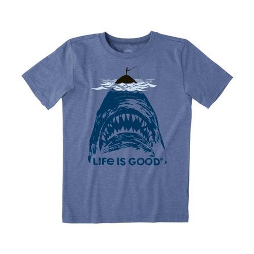 Life is Good Boys Shark Fish Cool Tee Vntgblue
