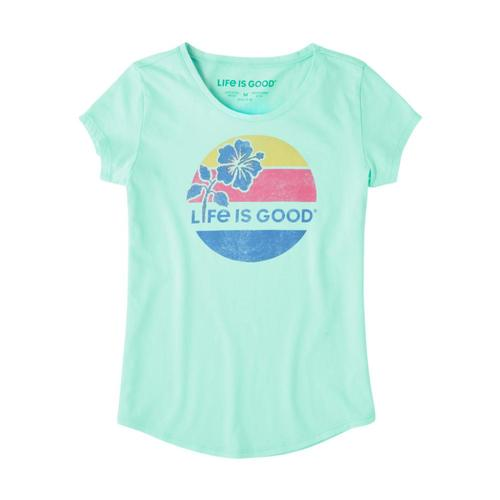 Life is Good Girls Hibiscus Sun Smiling Smooth Tee Brmdablue