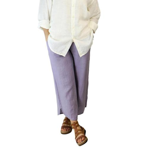 FLAX Women's Shirttail Flood Pants Lavender