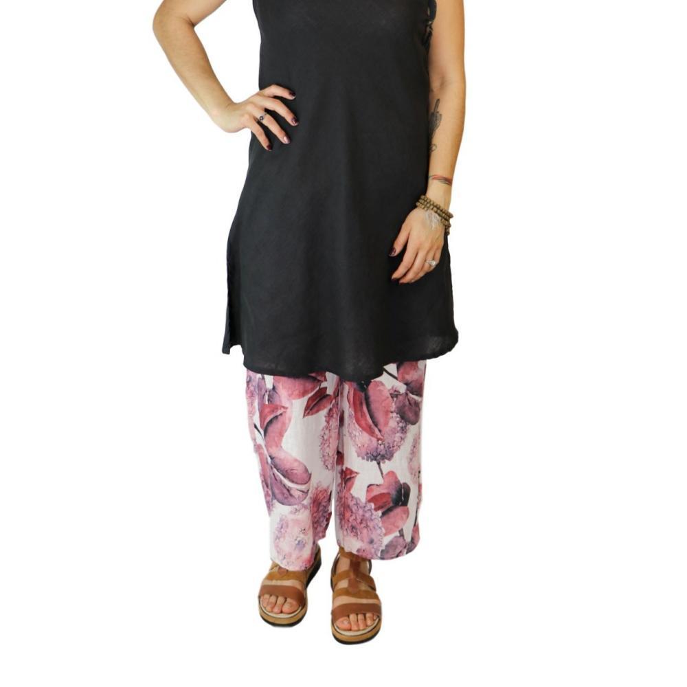 FLAX Women's Shirttail Flood Pants HYDRANGEA
