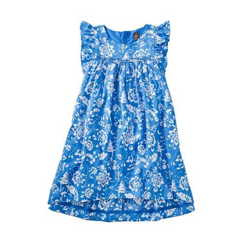 Tea Collection Girls Printed Hi-Lo Woven Dress Metiseko