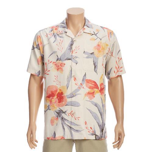 Tommy Bahama Men's Aqua Blooms Camp Shirt White