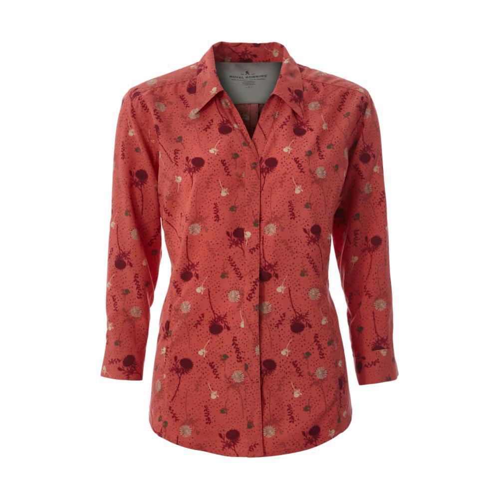 Royal Robbins Women's Expedition Print 3/4 Sleeve Shirt GRENADINE