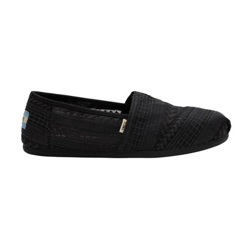 TOMS Women's Black Arrow Embroidered Mesh Classics Alpargatas Blk.Arw.Mesh