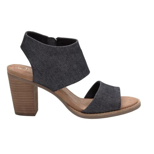 TOMS WomenÕs Black Denim Majorca Cutout Sandals Blackdenim