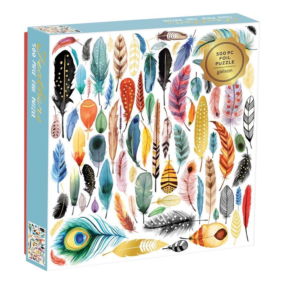 Chronicle Books Feathers 500- Piece Foil Puzzle