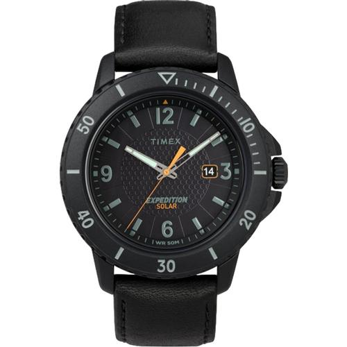 Timex Expedition Gallatin Solar 44mm Leather Strap Watch Black